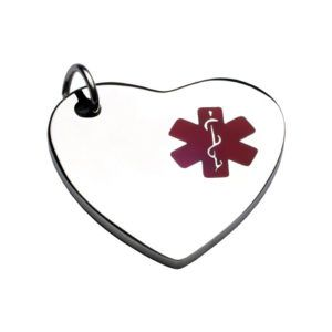 Plate  with ring to hang to the pet collarwith medical heart plate ID in silver  and red 26*28 mm