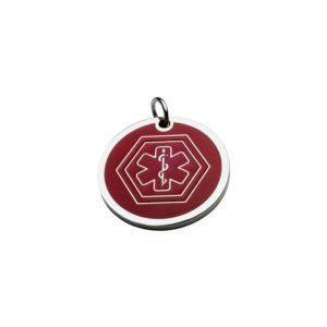 Small Plate Or Charm With Ring To Hang To The Pet Collar With Medical Round Plate ID In Red 13*13 Mm