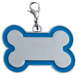 Id Bone For Pet Silver Color With Light Blue Border 30*45 Mm