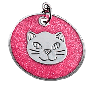 Cat Head Disc Pendant Pink 25 Mm