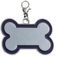 Id bone for pet silver color with light dark blue border 30*45 mm