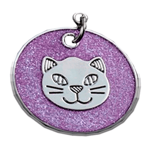 Cat Head Disc Pendant Purple 25 Mm