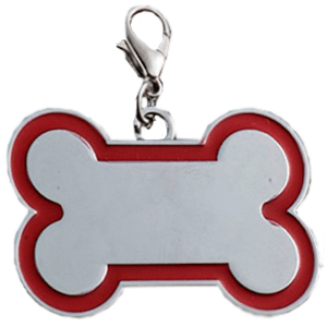 Id Bone For Pet Silver Color With Red Border 30*45 Mm