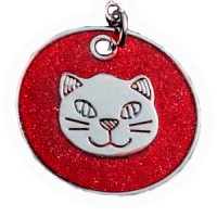 Cat Head Disc Pendant  pink red tone 25 mm