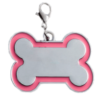 Id bone for pet silver color with pink  border 30*45 mm