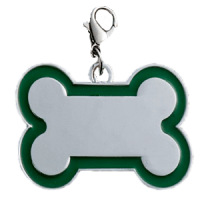 Id bone for pet silver color with light green border 30*45 mm