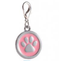 Zinc alloy pet ID tags paw-design circle lilac color 25*25 mm