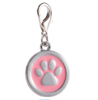 Zinc Alloy Pet ID Tags Paw-design Circle Lilac Color 25*25 Mm