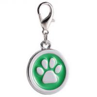Zinc alloy pet ID tags paw-design circle green color 25*25 mm