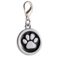 Zinc alloy pet ID tags paw-design circle black color 25*25 mm