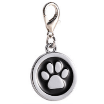 Zinc Alloy Pet ID Tags Paw-design Circle Black Color 25*25 Mm
