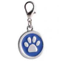 Zinc alloy pet ID tags paw-design circle blue color 25*25 mm