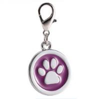 Zinc alloy pet ID tags paw-design circle purple color 25*25 mm