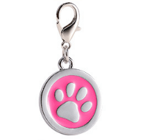 Zinc Alloy Pet ID Tags Paw-design Circle Pink Color 25*25 Mm