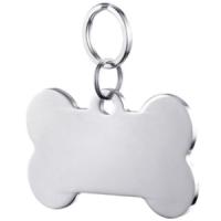 Bone Shape Dog Tag Pendant silver color 50*28 mm