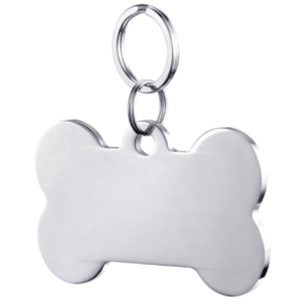 Bone Shape Dog Tag Pendant Silver Color 40*22 Mm