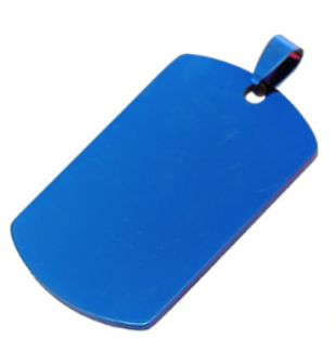 Pet Dog Tag ID Stainless Steel Blue Color 22*40 Mm