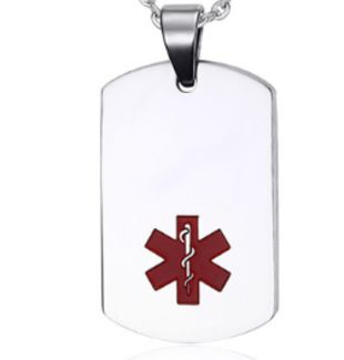 Pet Dog Tag  ID Stainless Steel Silver Color Red Medical Symbol 22*40 Mm