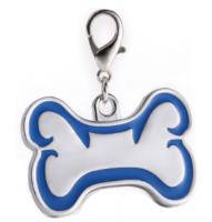 Zink alloy Id bone for pet silver color with blue border 46*29 mm