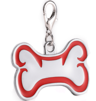 Zink Alloy Id Bone For Pet Silver Color With Red Border 46*29 Mm