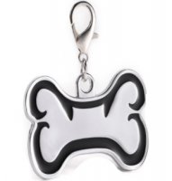Zink alloy Id bone for pet silver color with black border 46*29 mm