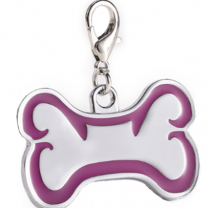 Zink Alloy Id Bone For Pet Silver Color With Purple Border 46*29 Mm