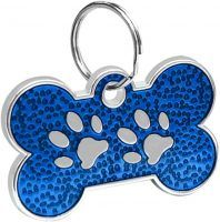 Bone Shaped Paw Print ID for pets blue color 20*30 mm
