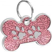 Bone Shaped Paw Print ID for pets light pink 20*30 mm