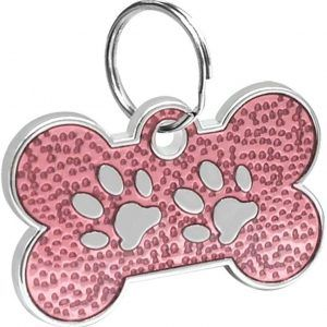 Bone Shaped Paw Print ID For Pets Light Pink 20*30 Mm