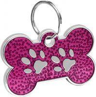 Bone Shaped Paw Print ID for pets purple color 20*30 mm