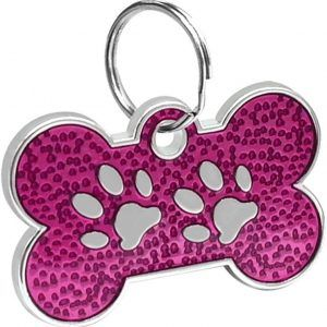 Bone Shaped Paw Print ID For Pets Purple Color 20*30 Mm