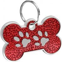 Bone Shaped Paw Print ID for pets red 20*30 mm