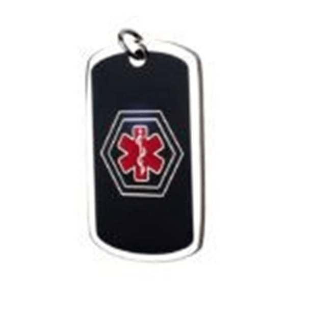 Steel ID Dog Tag – Black – Blue And Red Medical Symbol 26 * 43 Mm