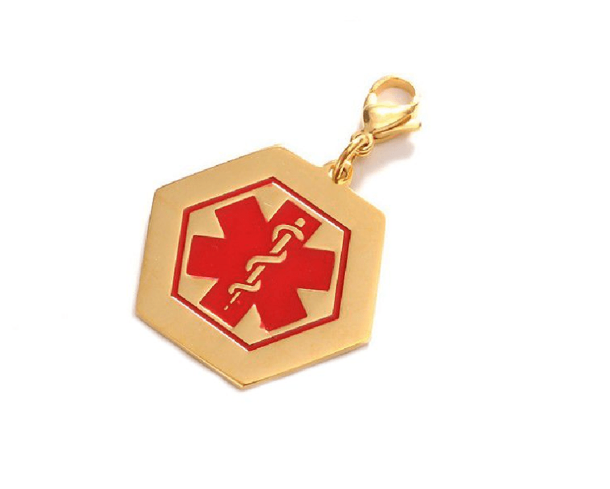 Gold Hexagonal Steel ID Medal With Medical Symbol – 39*35mm