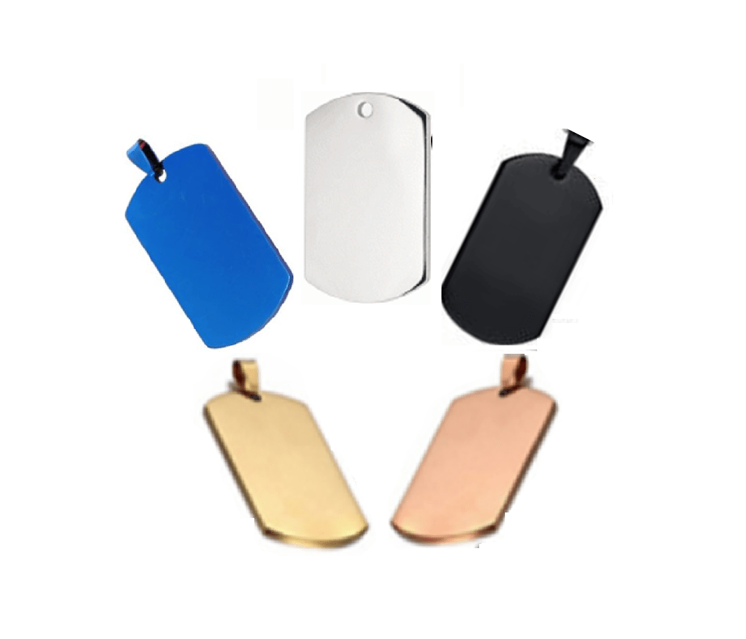Steel ID Dog Tag In Silver Color And Other Colors Various Sizes 36*22mm – 45*25mm – 50*28mm