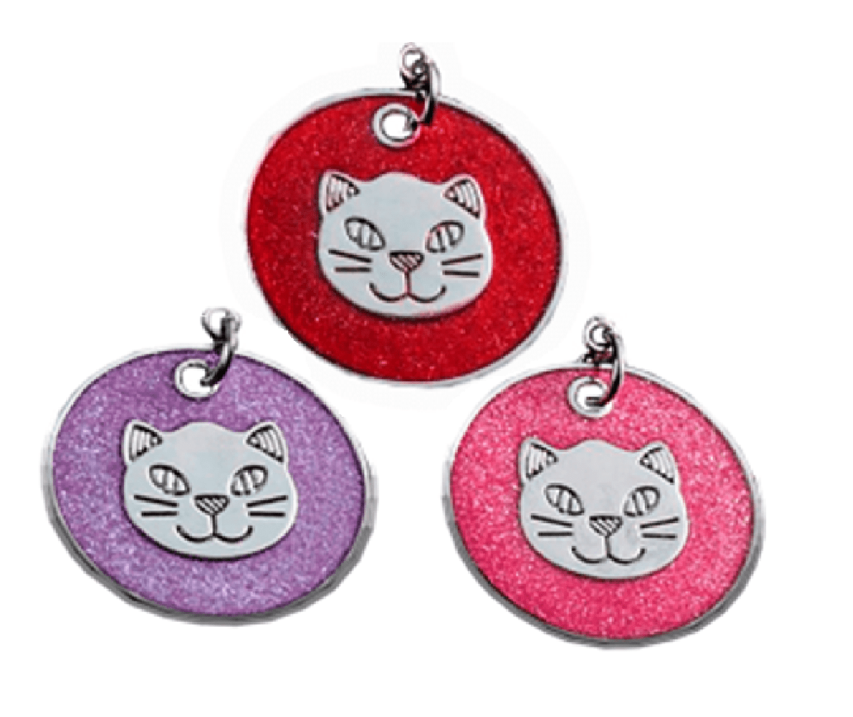 Circular ID With Cat Head Various Colors 25 Mm