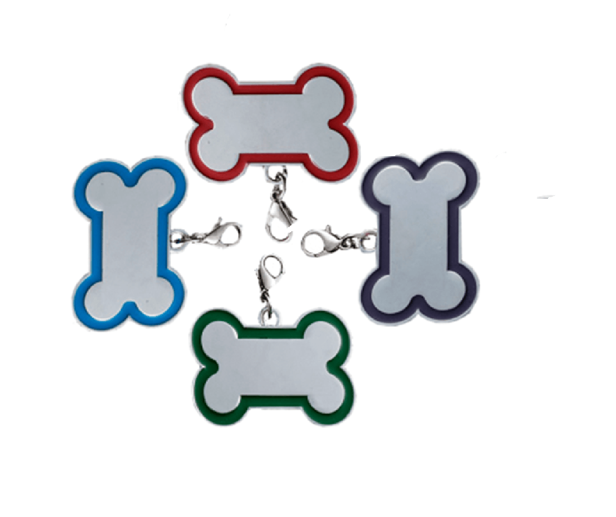 Id Bone For Pet Silver Color With Border Of Various Colors Size  32*22mm – 45*30mm – 65*42mm