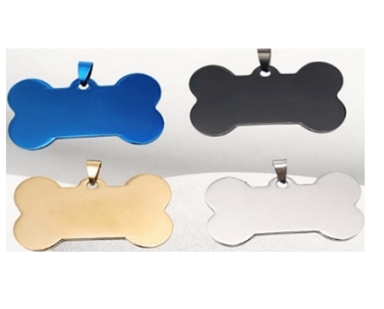 Steel Pet Identity Plate In The Shape Of A Bone In Silver And Other Colors  40*23 And 50*28 Mm