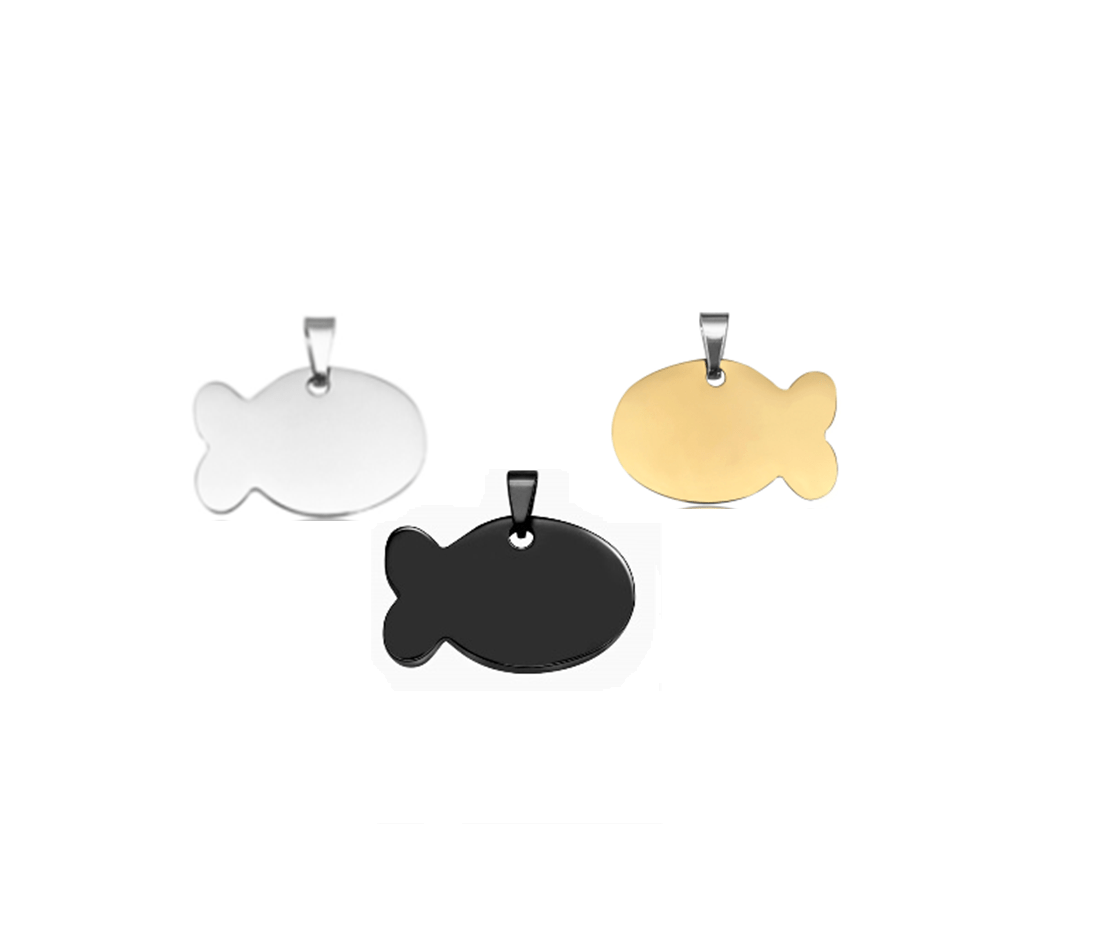 Fish ID For Pet In Silver, Gold And Black Steel 32 * 17 Mm